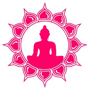 The 7 chakras hot pink lotus flower with Buddha in the middle of it