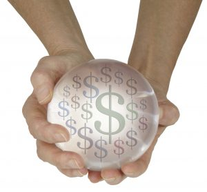 hands holding psychic crystal ball with money dollar signs in it